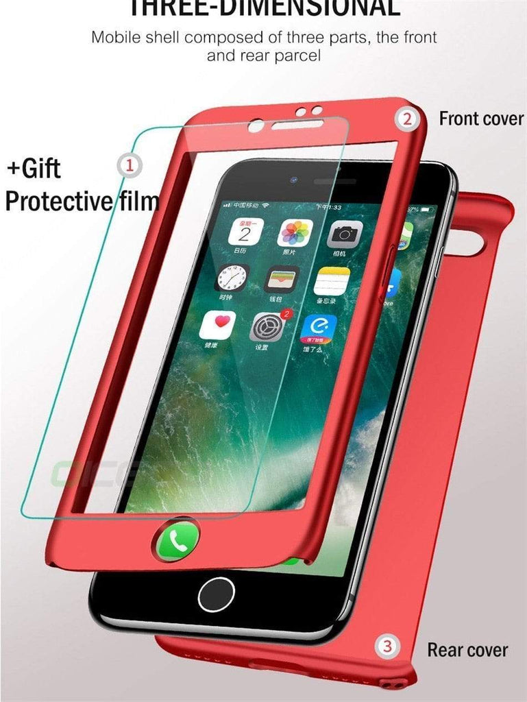 iPhone Case Luxury 360 Full Protection Flip Tempered Glass Bumper iPhone Case