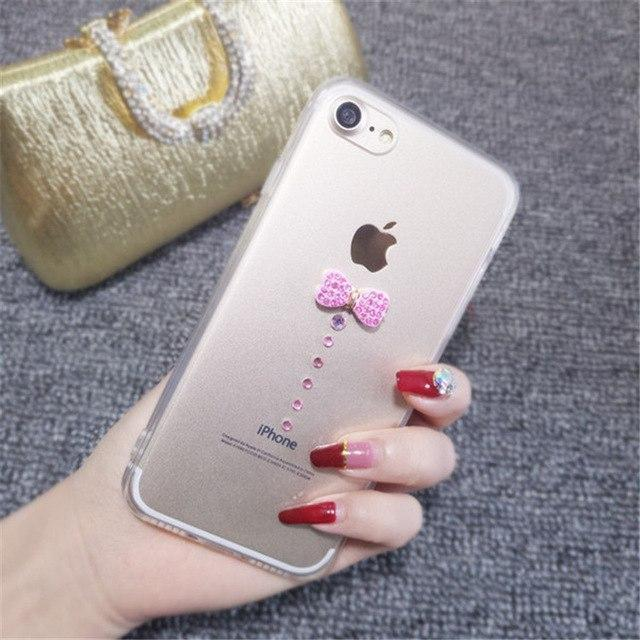 iPhone Case Luxury Bling Diamond Rhinestone Ribbon Transparent iPhone Case