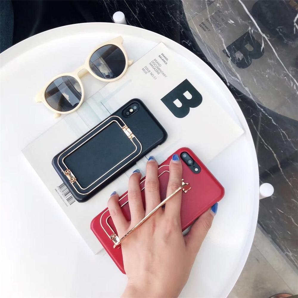 iPhone Case Luxury Gold Hand Finger Holder Bracelet Kickstand Leather iPhone Case