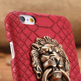 iPhone Case Luxury Lion Head Fashion Red Leather Kickstand Designer iPhone Case
