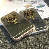 Luxury Mirror Lion Ring Holder Shiny Silicone TPU Designer iPhone Case - Mixi Iphone Case