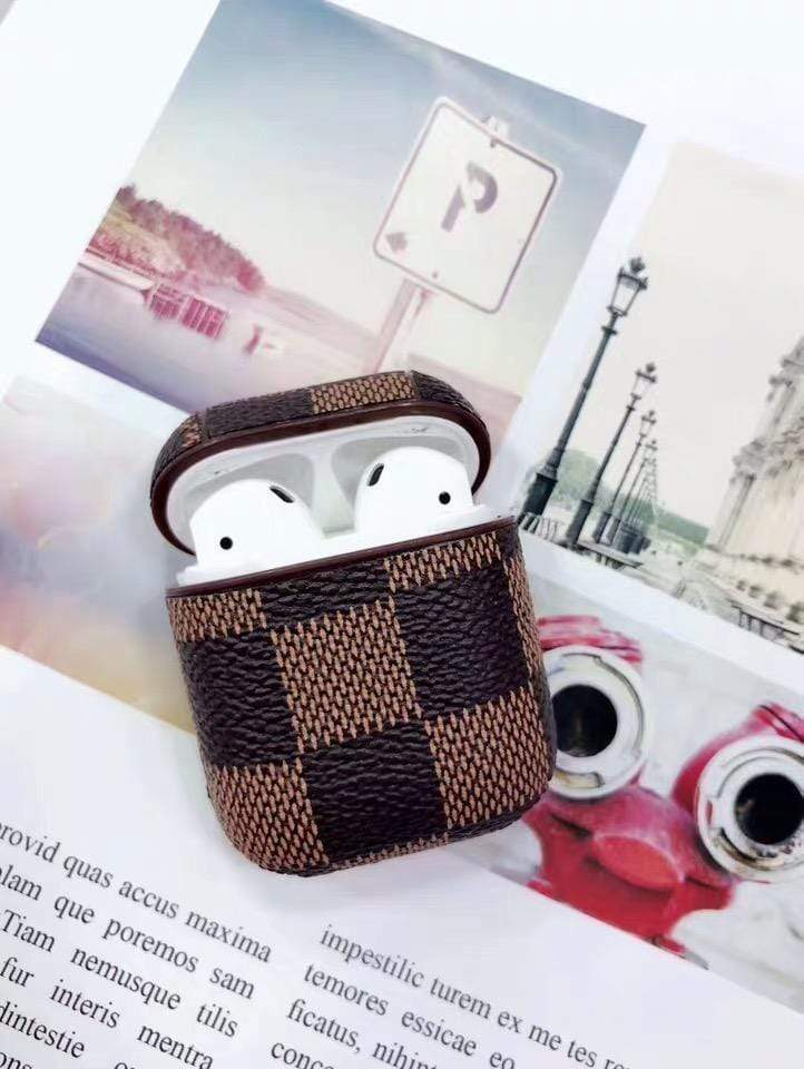 Luxury Style AirPods Classic Damier Leather Protective Shockproof Case For Apple Airpods 1 & 2 - Mixi Iphone Case