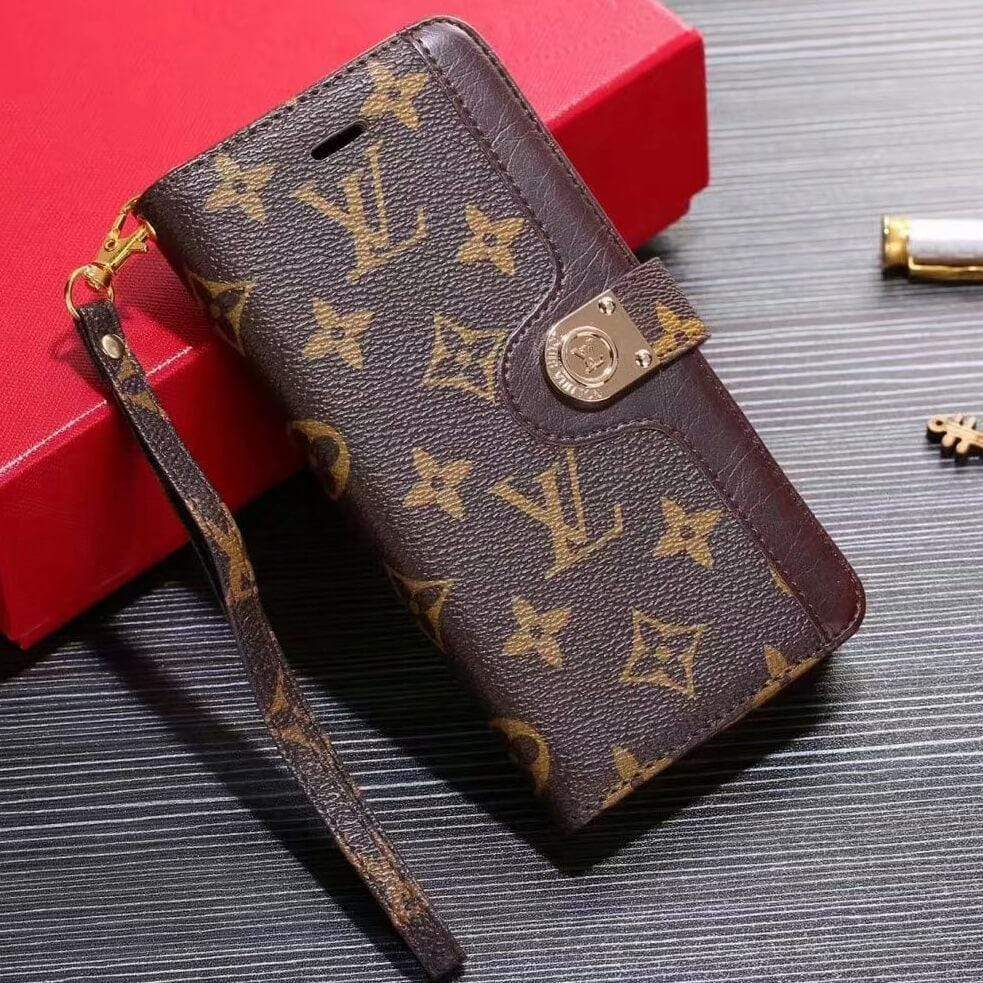 LV iPhone case Brown 11 Pro Xs Max Xr 8 Plus Luxury wallet leather - Mixi Iphone Case