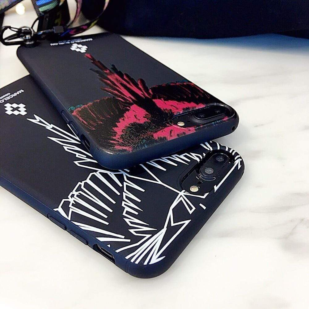 MARCELO BURLON Style Wing Silicone Designer iPhone Case With Lanyard - Mixi Iphone Case