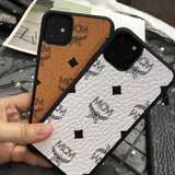 MCM Style Leather Shockproof Designer iPhone Case For iPhone 11 Pro Max X XS XS Max XR 7 8 Plus - Mixi Iphone Case