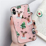 Merry Christmas Phone Case For iPhone 11 X XR XS Max 8 7 6 6s Plus Cartoon Santa Claus elk Soft TPU Silicon Cover Couples Cases - Mixi Iphone Case