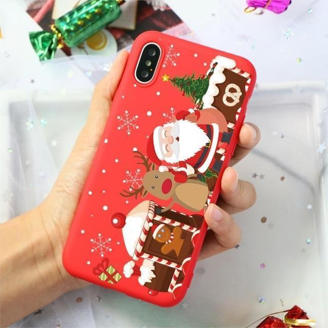 Merry Christmas Santa Claus Deer Print Silicone Soft TPU Case For iPhone 11 Pro 7 8 6 6S Plus XR X XS Max 5 5S SE Case Back Capa - Mixi Iphone Case