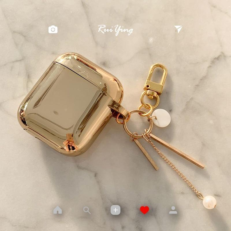 Metallic Gold Plating Hard Protective AirPods 1 & 2 Case - Mixi Iphone Case