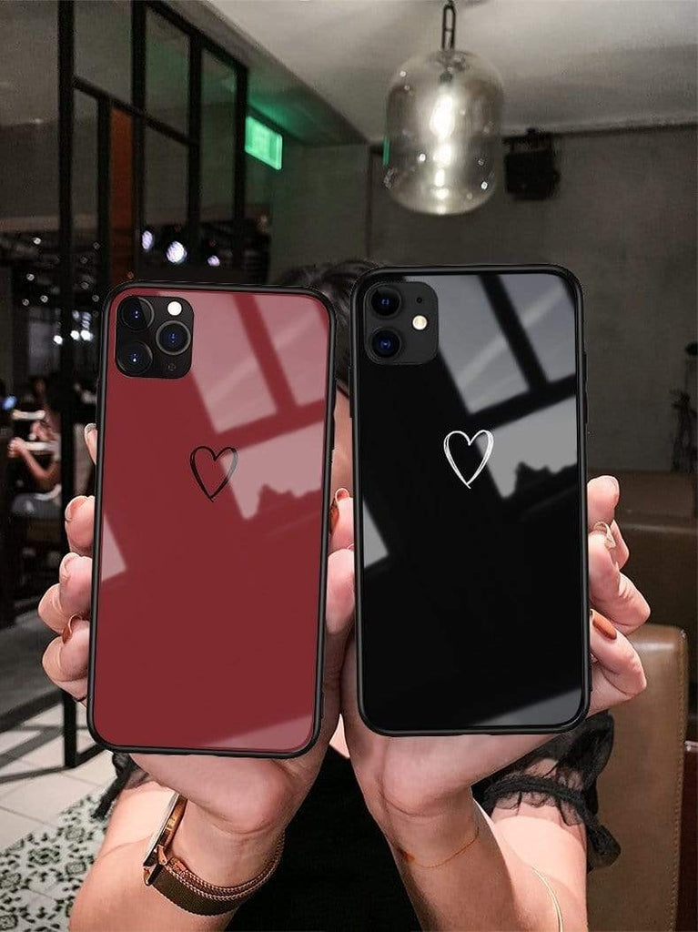 Minimalism Heart Tempered Glass Shockproof Protective Designer iPhone Case For iPhone 11 Pro Max X XS Max XR 7 8 Plus - Mixi Iphone Case