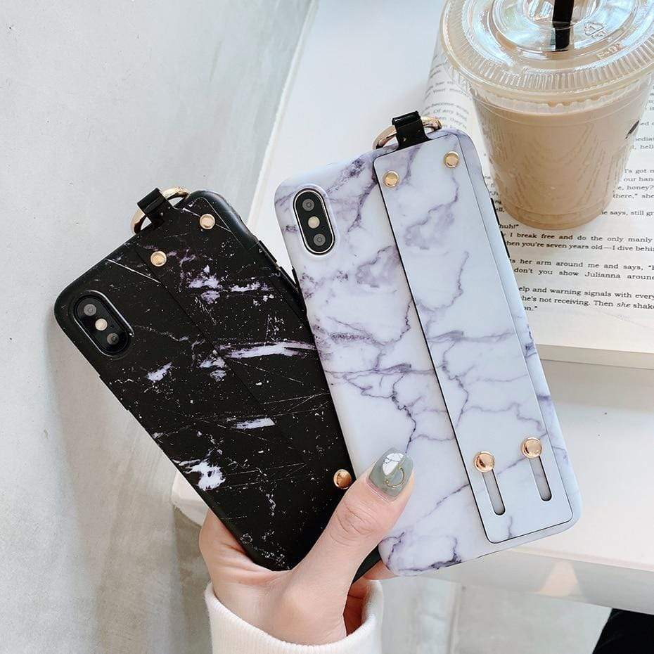 Modern Hand Strap Marble Painted Designer Bumper iPhone Case for iPhon - Mixi Iphone Case