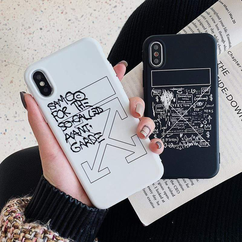 Off White OW Style Meme Matte Silicone Designer iPhone Case For iPhone X XS XS Max XR 7 8 Plus - Mixi Iphone Case