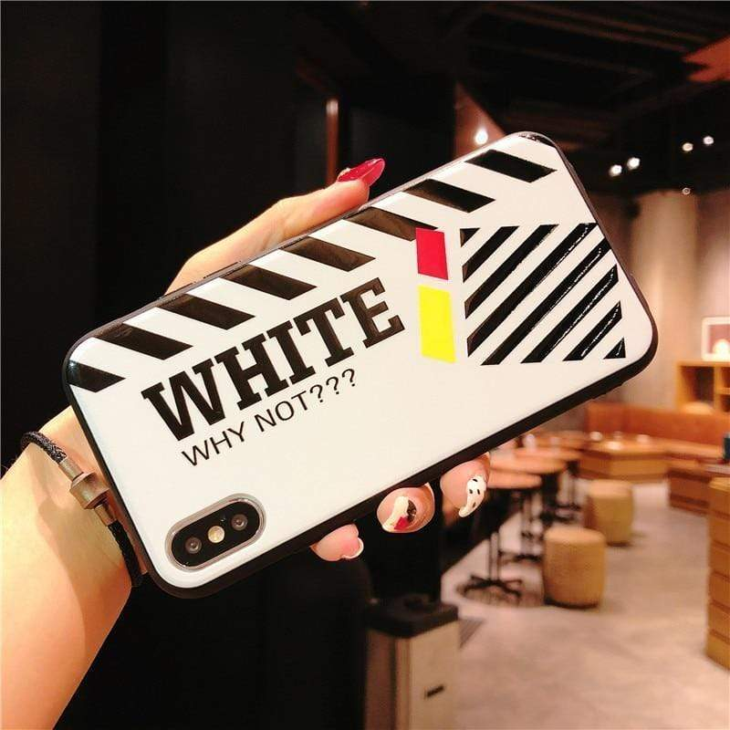Off White OW Style Stripe White Silicone Designer iPhone Case - Mixi Iphone Case