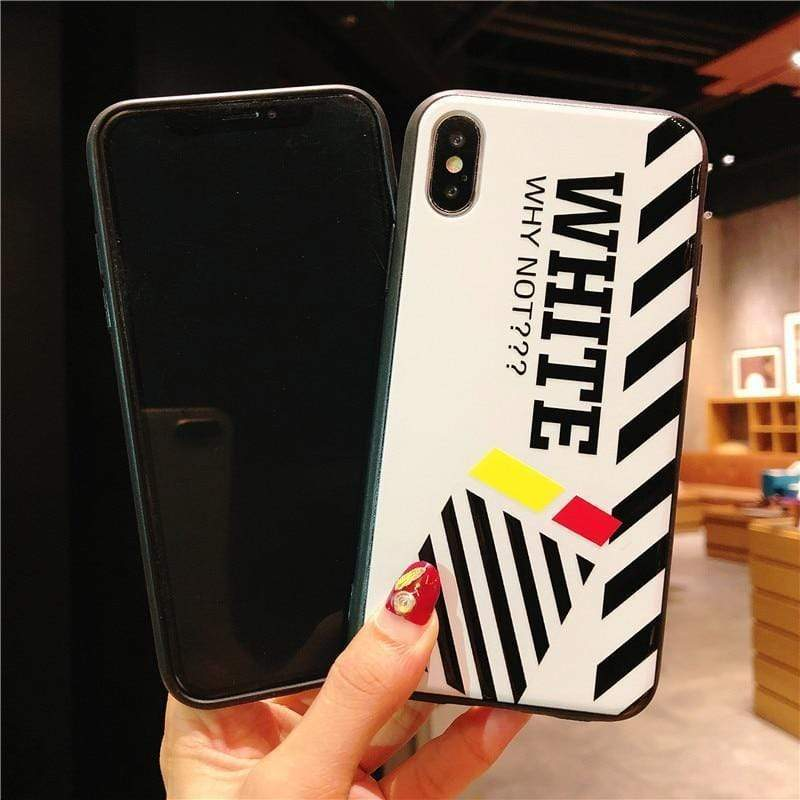 iPhone Case Off White OW Style Stripe White Silicone Designer iPhone Case