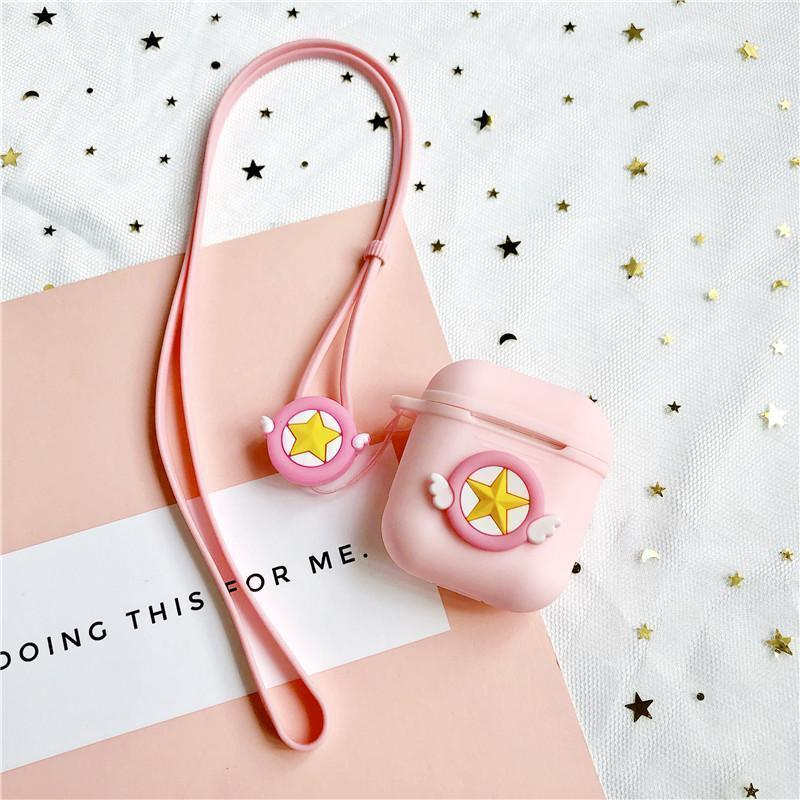 Sailor Moon Pink Star Silicone Protective AirPods 1 & 2 Case - Mixi Iphone Case