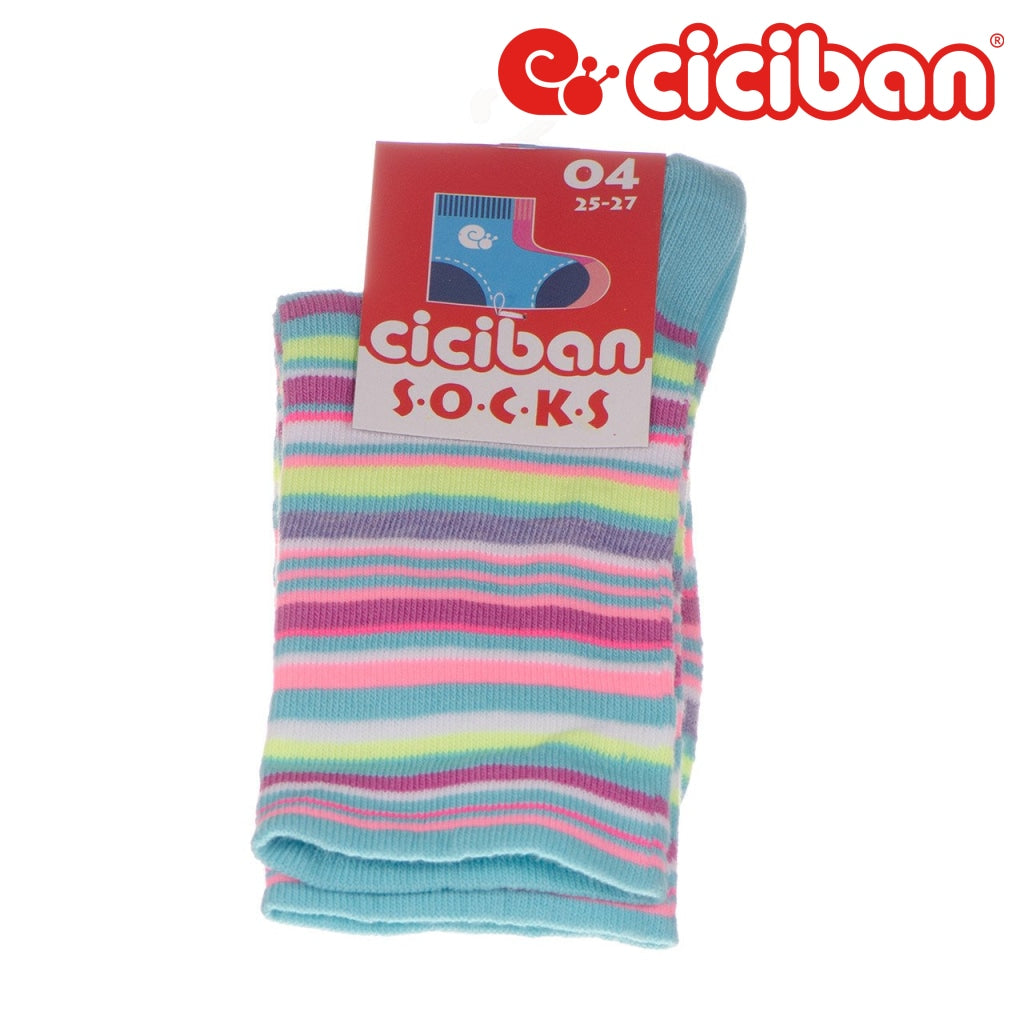Socks - Stripe Multi Aqua Extras