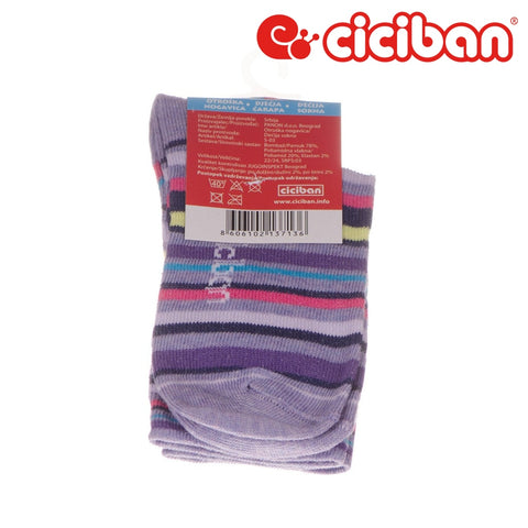 Socks - Stripe Multi Purple Extras