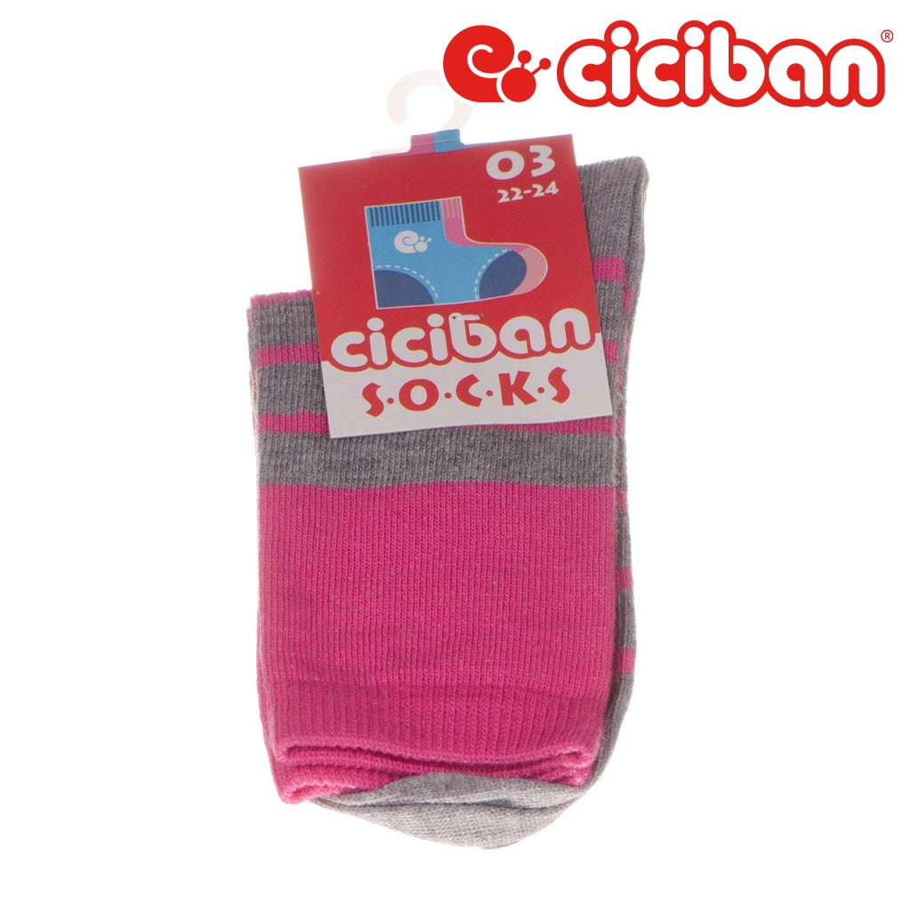 Socks - Thick Stripe Pink/grey Extras