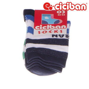 Socks - Wide Stripes White/blue/green Extras