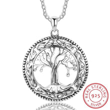 Load image into Gallery viewer, Vintage 925 Sterling Silver Tree of Life Round Pendant Necklace Women Silver Jewelry Birthday Gift for Grandma (Lam Hub Fong)