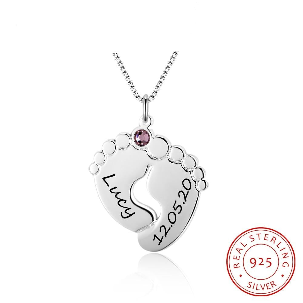 JewelOra Personalized Baby Feet Necklace with Birthstone 925 Sterling Silver Customized Name Pendant Necklace Gift for Mother