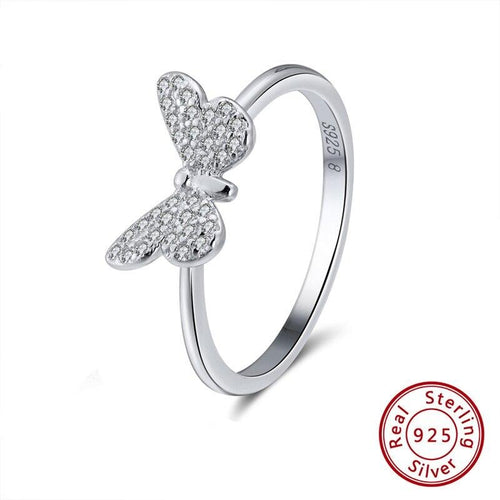 Genuine 925 Sterling Silver Women Rings Cute Butterfly Silver&Gold Color AAA Cubic Zircon Fashion Ring Jewelry SR59