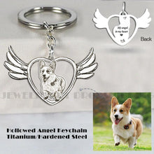 Cargar imagen en el visor de la galería, Customized Pet Keychain Photo personalized Jewelry 925 Sterling Silver Memory Keepsake Engrave Dog Cat Name Tag Portrait