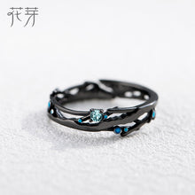 Load image into Gallery viewer, Thaya CZ Milky Way Black Rings Blue Bright Cubic Zirconia Rings 925 Silver Jewelry for Women Lover Vintage Bohemian Retro Gift
