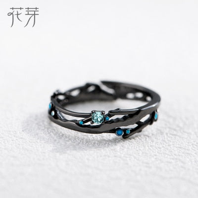 Thaya CZ Milky Way Black Rings Blue Bright Cubic Zirconia Rings 925 Silver Jewelry for Women Lover Vintage Bohemian Retro Gift