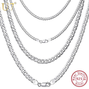 U7 Men's 925 Sterling Silver Italian Cuban Curb Chain Necklaces for Men Women Solid Silver Figaro Chain Layering Necklace SC289