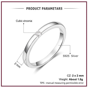 Luxury 925 Sterling Silver Rings for Women Round Cubic Zircon Finger Ring Wedding Engagement Ring Fine Jewelry