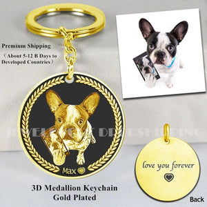 Customized Pet Keychain Photo personalized Jewelry 925 Sterling Silver Memory Keepsake Engrave Dog Cat Name Tag Portrait