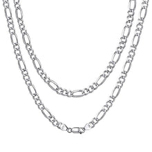 Load image into Gallery viewer, U7 Men's 925 Sterling Silver Italian Cuban Curb Chain Necklaces for Men Women Solid Silver Figaro Chain Layering Necklace SC289