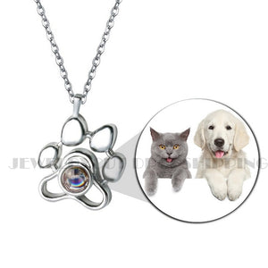 Customzied  Photo Projection Necklace Footprints Cat Dog Paw 100 Languages I Love You Projection Necklace Memory Jewelry