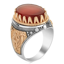 Load image into Gallery viewer, 925 Sterling Silver Men's Ring with Dark Burgundy Agate Stone Agate Ring for Men
