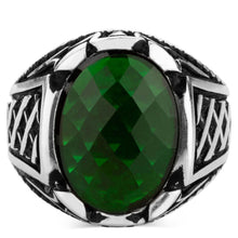 Load image into Gallery viewer, 925 Sterling Silver Men's Ring with Oval Green Zircon Stone Small Ring for Men Green Faceted Zirconia Ring