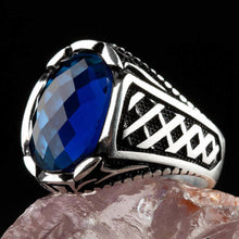 Load image into Gallery viewer, 925 Sterling Silver Men's Ring with Oval Blue Zircon Stone Small Ring for Men Blue Faceted Zirconia Ring