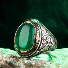 Load image into Gallery viewer, 925 Sterling Silver Ornamented Men's Ring with Green Agate Stone Green Aqeeq Gemstone Ring for Men Exclusive Male Ring