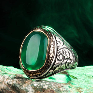 925 Sterling Silver Ornamented Men's Ring with Green Agate Stone Green Aqeeq Gemstone Ring for Men Exclusive Male Ring