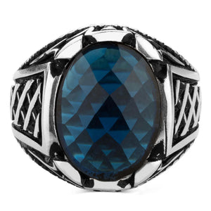 925 Sterling Silver Men's Ring with Oval Blue Zircon Stone Small Ring for Men Blue Faceted Zirconia Ring