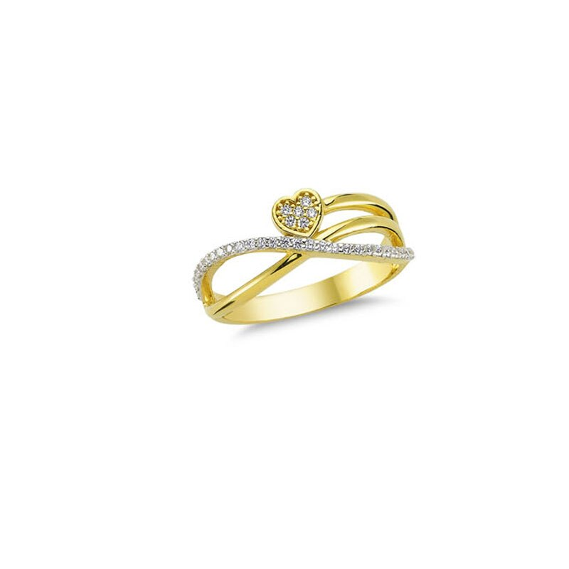 14K Solid Gold Heart Detail Ring for Women