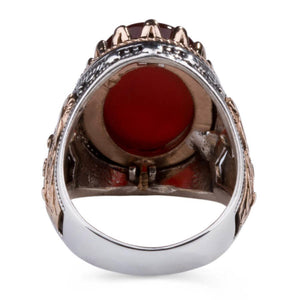 925 Sterling Silver Men's Ring with Dark Burgundy Agate Stone Agate Ring for Men