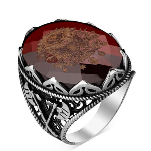 925 Sterling Silver Mens Ottoman Crest Ring with Red Zircon Stone Fashion Turkish Premium Quality Handmade Jawelery