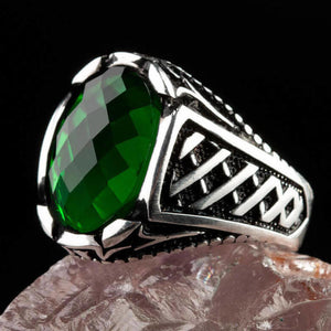 925 Sterling Silver Men's Ring with Oval Green Zircon Stone Small Ring for Men Green Faceted Zirconia Ring