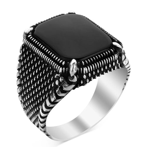 925 Sterling Silver Men's Ring with Black Onyx Stone Square Ring Black Ring for Men Onyx Ring