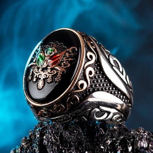 925 Sterling Silver Ottoman Coat of Arms Silver Ring on Black Onyx Stone Exclusive Ring for Men Gemstone Onyx Ring
