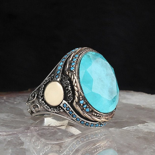 Turquoise, Tourmaline Gemstone Dynasty Series 925 Silver Men 'S Ring