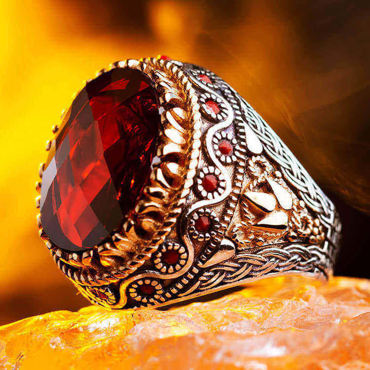 925 Sterling Silver Men's Ring with Faceted Red Zircon Stone Fashionable Ring For Men Red Zirconia Men's Ring