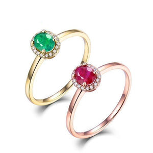 Luxury Rings For Women Solid 14K Yellow Gold Genuine Diamonds Natural Ruby Emerald Gemstone Mother's Gift Ring Jewelry In Stock - jewelrycafee