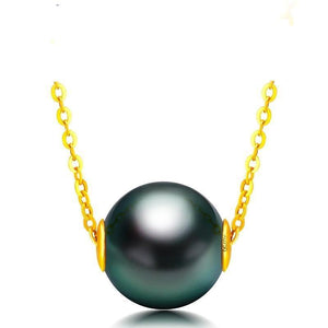 18K Solid Gold Chain Genuine Saltwater Cultured Tahitian Pearl Pendant Necklace - jewelrycafee