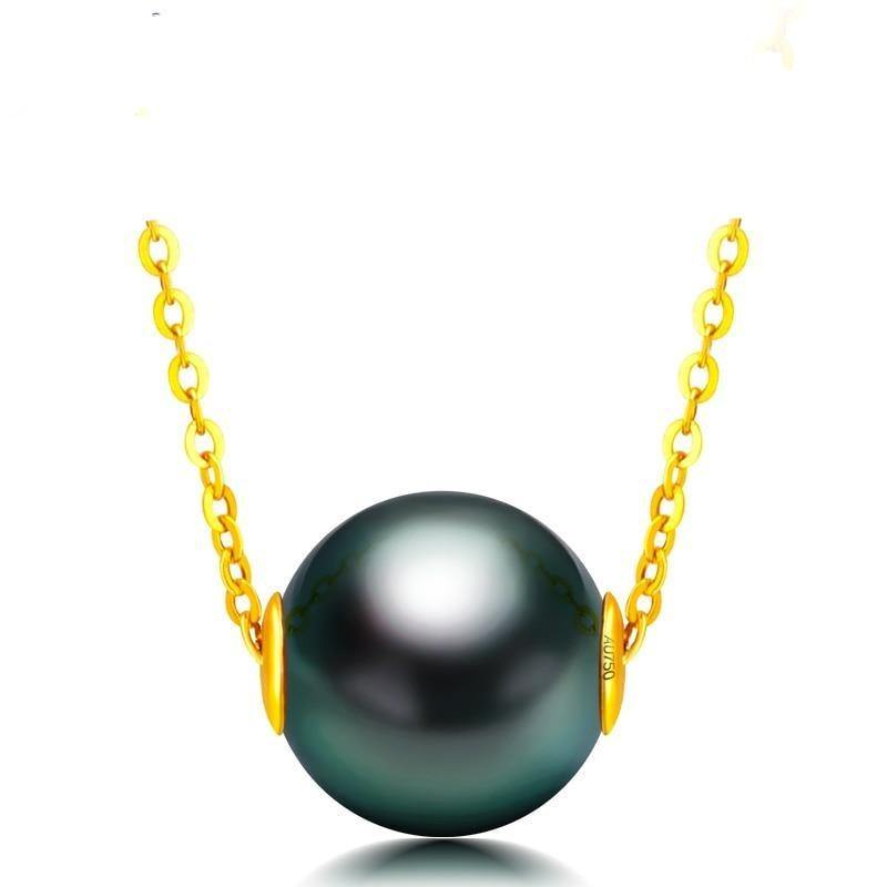 18K Solid Gold Chain Genuine Saltwater Cultured Tahitian Pearl Pendant Necklace
